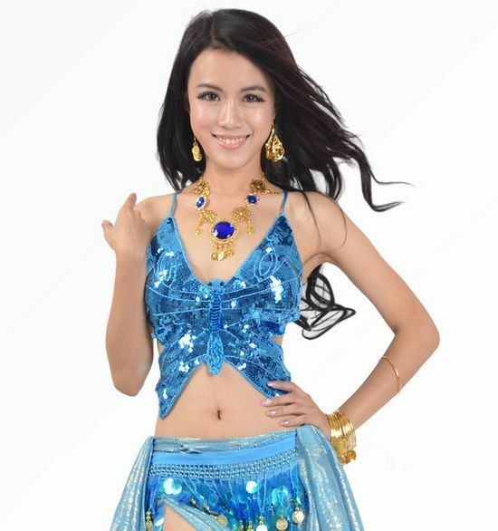 Cool Womens Belly Dance Costume Butterfly Sequin Tops Bra Adjustable One Size