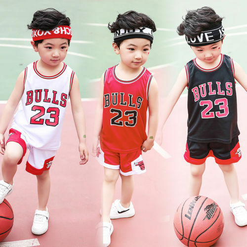 HOT Kids Baby Boys Girls #23 Michael Jordan Bulls Basketball Jerseys Short Suits