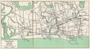 Madras India Map.Madras Chennai Town City Plan Showing Key Buildings India