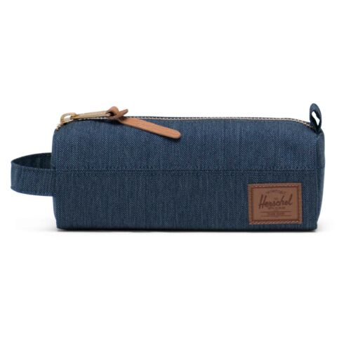 Herschel Settlement Case Pencil School Case Indigo Denim Crosshatch Saddle Brown