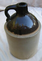 "Old Jug Stoneware Crock Brown Glaze ""M"""
