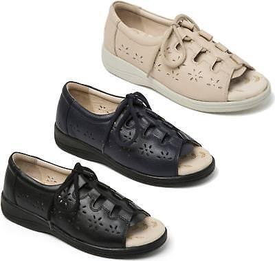 2E Padders COASTLINE Ladies Womens Leather Extra Wide Open Toe Sandals Beige