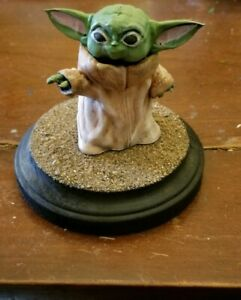 Hand-Painted-Baby-Yoda-Statue-With-Custom-Base