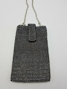 Evening-Purse-Cell-Phone-Pouch-Black-Rhinestone-Sparkle-Bling-Strap-Flap-NEW