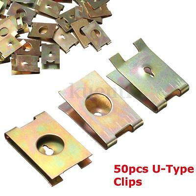 50 Pcs Car Door  Screw U-Clip Copper Metal Type Screw Buckle Fastener 6mm Dia