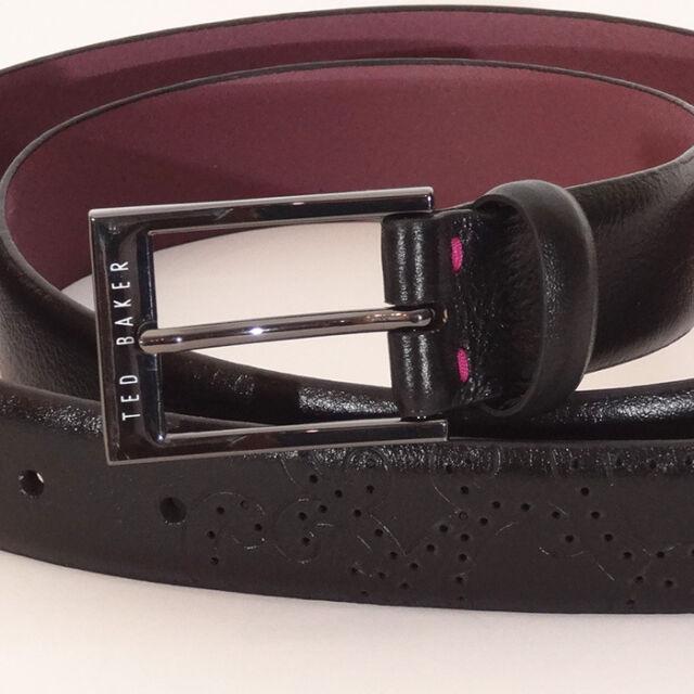 Ted Baker Belt NEW Black/Purple or black/Green Men`s belt 100% Leather belt