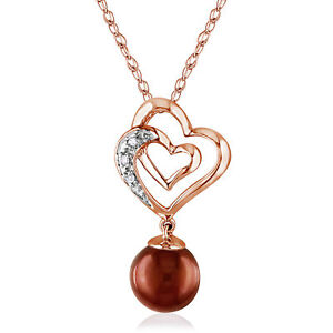 Amour 10k Rose Gold Freshwater Pearl and Diamond Heart Necklace