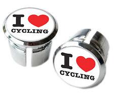 I Love Cycling Bicycle Handlebar Chrome Plastic Bar End Plugs, Caps
