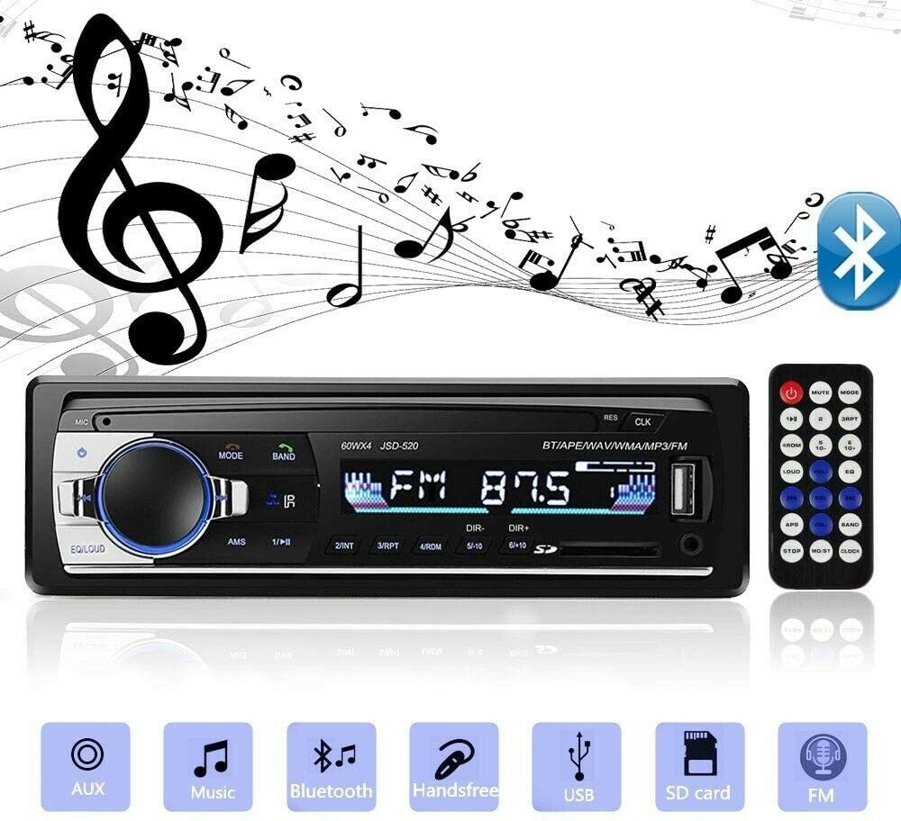 autoradio: Autoradio 1Din Lettore MP3 Bluetooth Audio Musica Stereo USB AUX FM TF 12V Radio