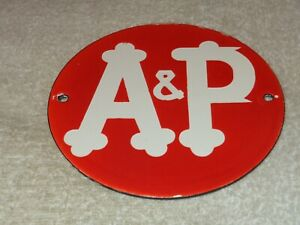 VINTAGE-A-amp-P-TEA-COFFEE-GROCERY-STORE-6-034-PORCELAIN-METAL-A-amp-P-GASOLINE-OIL-SIGN
