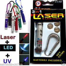 3 in1 key chain laser pointer led torch Flash UV Light with battery projector...