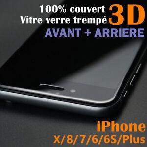 IPHONE-X-8-7-6S-6-AVANT-ARRIERE-3D-FILM-PROTECTION-ECRAN-VERRE-TREMPE-VITRE