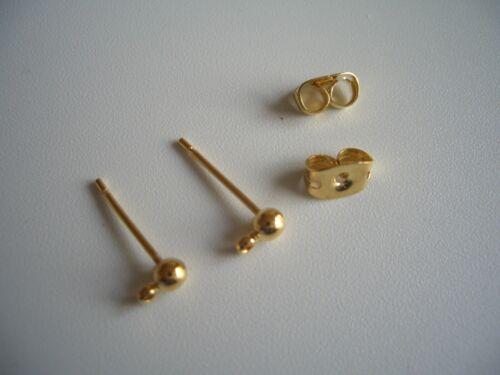 Ohrstecker mit Öse und Stöpsel goldfarbig neu Perlen basteln Beads 1265
