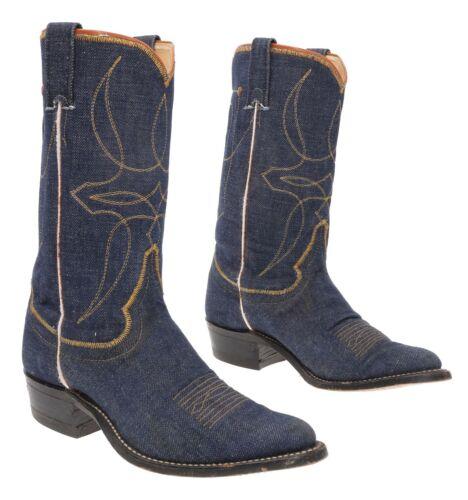 Vtg JUSTIN Cowboy Boots 6.5 A Womens Blue DENIM We