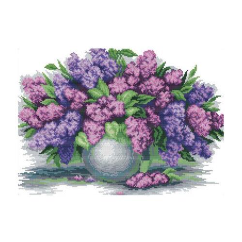 Lavender Vase DIY Stamped Cross Stitch Kit Pre-Printed Pattern Embroidery Kit