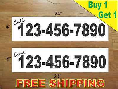 """CUSTOM PHONE NUMBER # BLACK Text 6/""""x24/"""" REAL ESTATE RIDER SIGNS Buy 1 Get 1 FREE"""