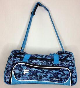 """92343df1629 Fila Travel Gym Sport Duffle Bag 22"""" Blue/Black Digital Camo Side ..."""