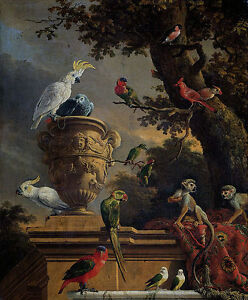 Oil-painting-beautiful-singing-birds-Macaw-parrots-and-monkeys-in-dusk-landscape