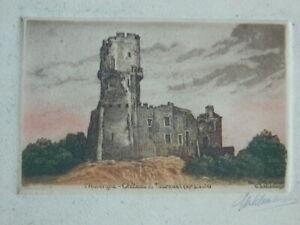 Grabado Agua Fuerte AUVERNIA Castillo de Tournoel Firmada a Lápiz Schtamberger