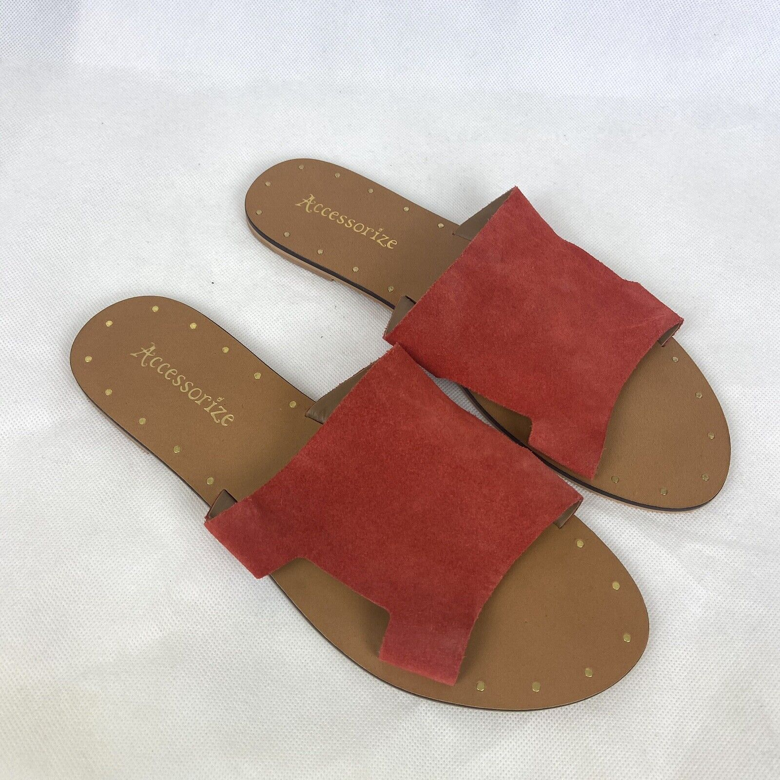 Accessorize Sandals 8 Orange Red Suede Slides Suede Leather Flat Shoes Holiday