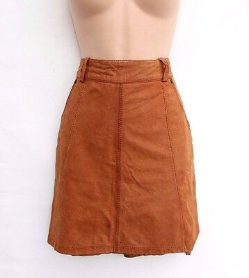 Premuroso Women's Vintage Esprit High Waist Straight Brown 100% Real Leather Skirt Uk8 Disabilità Strutturali