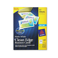 Avery True Print Clean Edge Business Cards Inkjet 2 X 3 1/2 White 400/box 8877 on sale