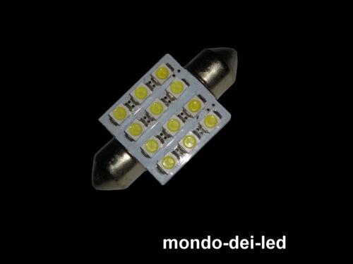 1X Lampada luci targa//interno siluro a led 39 mm T11 C5W 12 SMD 6000K reali