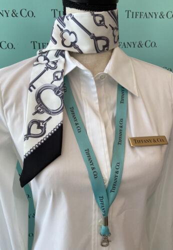 Tiffany&Co Twilly Scarf Purse Tie Key Black Cream