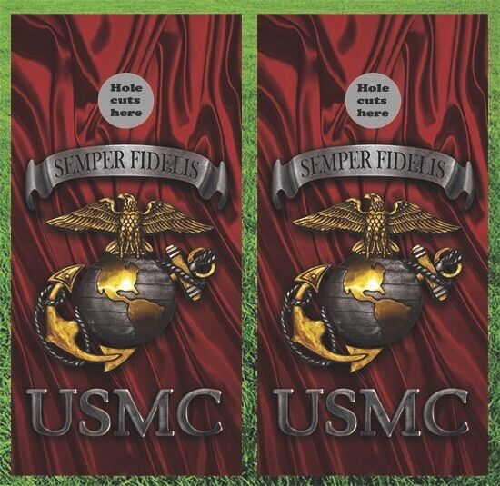 USMC Marines Cornhole Wrap Decals Bag Toss 3M Vinyl 24x48  Fast Shipping
