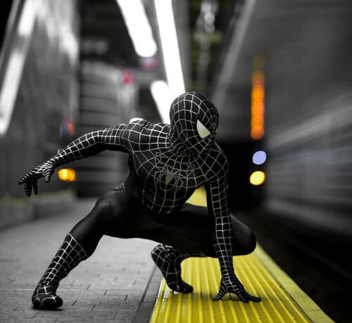 Details about  /Spider-Man Cpsplay Black Muscle Jumpsuit Venom Tights Super Hero Costume w// Mask
