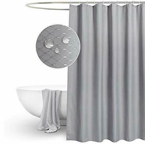 Waffle Grey Shower Curtains Mould Water Proof Resistant Washable