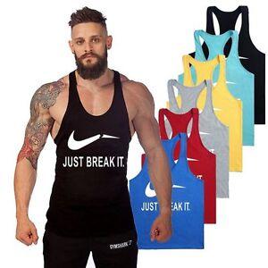 Gym-HOMBRE-Just-Break-CAMISA-SIN-MANGAS-camiseta-de-tirantes-CULTURISMO-DEPORTE