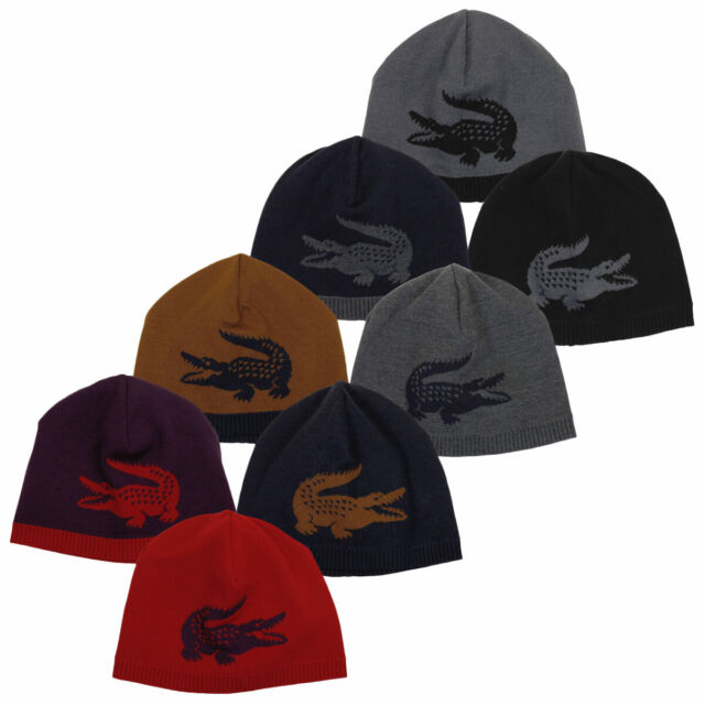 Lacoste Mens 2019 Jacquard Crocodile Beanie Knitted Classic Hat