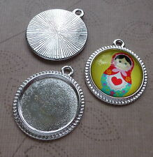 12 pcs - silver tone alloy round setting, cabochon base, blank for 16mm