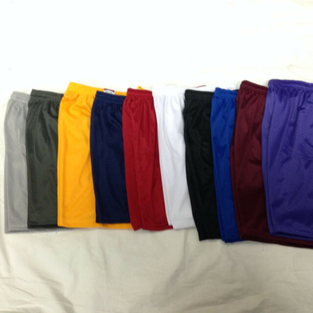 Men's Mesh Jersey Athletic Fitness Workout Colors Shorts with Pockets