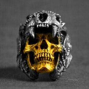 Herren-Gothic-Punk-Skull-Biker-Ring-Edelstahl-Vintage-Steampunk-Ring-Schmuck