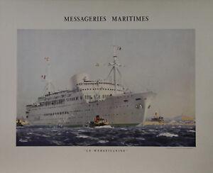 """""""messageries Maritimes / La Marseillaise"""" Affiche Originale Entoilée (brenet) Engbflob-07224451-131535119"""