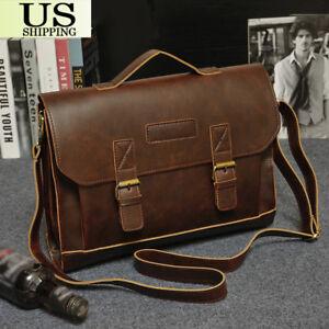 Men-039-s-Leather-Messenger-Shoulder-Bags-Business-Work-Briefcase-Laptop-Bag-Handbag