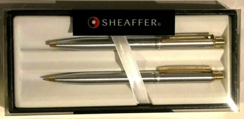 multiple avail Sheaffer Sentinel Chrome//Gold Plated Ballpoint Pen /& Pencil Set