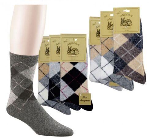 3 Paar Socken mit Angorawolle Karodesign,Handgekettelelt für Damen /& Herren 557