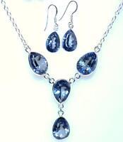 Sterling Silver Set Mystic Blue Quartz Necklace Earrings Genuine 925 Jewelry Set