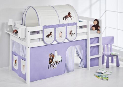 Spielbett surelevé lit enfant Jelle 190x90 CM BLANC LILOKIDS chevaux violet