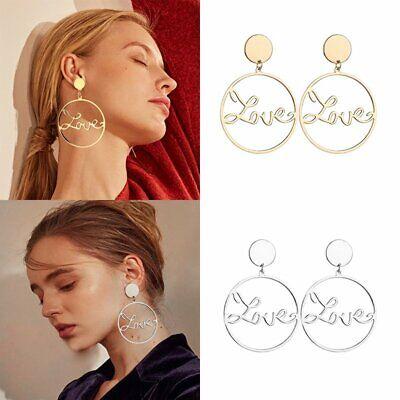 Gift Fashion Women  Dangle Ear Studs Hoop Earrings Double Big Heart Geometric