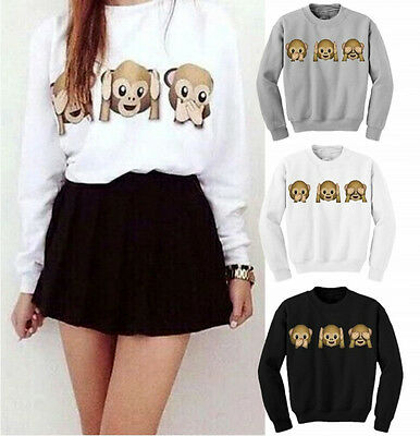 3D Monkey Emoji Women Fashion Jumper Long Sleeve Top T-shirt Sweatshirt Pullover