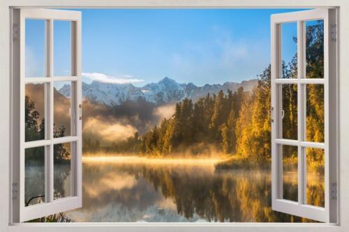 Lac Brouillard 3D fenêtre Decal Wall Sticker Home Decor Art Mural Nature Paysage J395