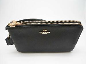 NEW-Authentic-COACH-F87587-Double-Zip-Pebble-Leather-Wristlet-Wallet