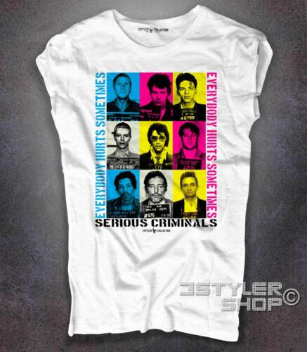 T-shirt donna foto segnaletiche celebrities mugshot stile Happiness
