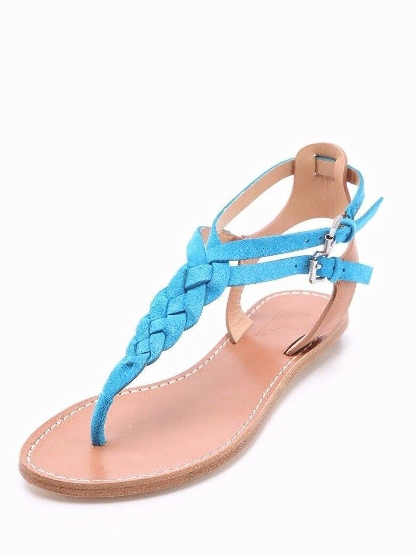 Belle por Sigerson Sigerson Sigerson Morrison Cielo Azul Rank gamuza trenzada Correa T Sandalias Talla 9  ventas en linea
