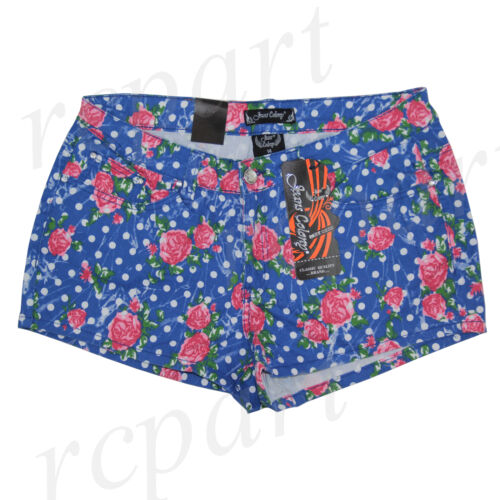 New Jeans Colony Women/'s Casual Jeans Shorts Summer Blue Floral 14 16 18 20 22