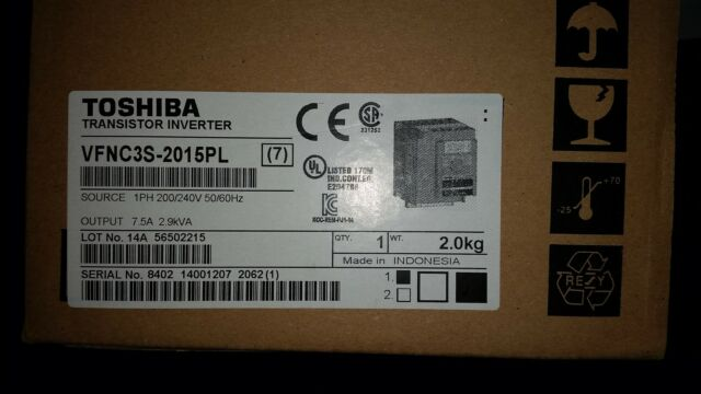 Brand New Toshiba  Inverter 1,5kW-2HP-7.5A 230V VFNC3S-2015 W EMC FILTER